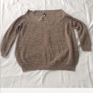 Off shoulder V neck sweater